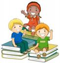 children sitting on books